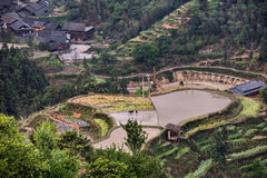 Paddy field on a hill near the village, Guizhou, China. Royalty Free Stock Photos