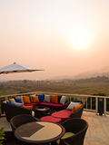 Paddy field and mountainous sunset view Stock Photo