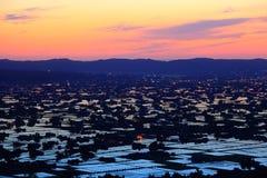 Paddy field at twilight Stock Image