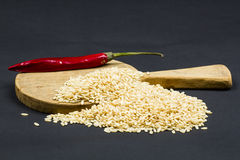 Paddy rice and hot pepper Stock Photos
