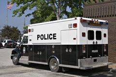 Paddy Wagon. A police paddy wagon parked outside the police station stock photography