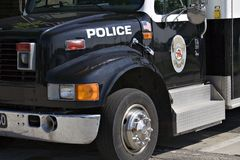 Paddy Wagon. Front side view of a Police Paddy Wagon stock images