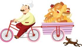 Padeiro em uma bicicleta ilustração do vetor