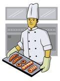 Padeiro Showing Load do cozinheiro chefe da padaria na bandeja de cozimento ilustração royalty free