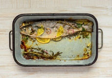 Padella quadrata con il pesce cucinato Immagine Stock