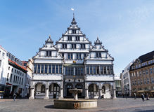 PADERBORN, GERMANY, MARCH 13, 2017: Renaissance town hall from 1. 616 on the market square with fountain in the city of Paderborn Stock Photo