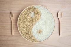 Padie en rijst in plante Stock Foto's