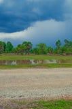 Padieveld en blauwe hemel van Kambodja royalty-vrije stock afbeelding