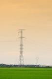 Padieveld met de pylonen van de hoogspanningsmacht stock foto's