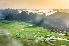 Padieveld in vallei in Bac Son, Vietnam Royalty-vrije Stock Fotografie