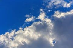 Padievelden en blauwe hemel met Royalty-vrije Stock Afbeeldingen