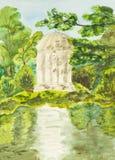 Padiglione bianco in parco, dipingente Immagini Stock Libere da Diritti