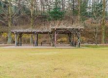 Padiglione di legno in sosta Fotografia Stock