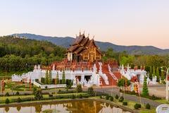 Padiglione di stile di Ho Kum Luang Lanna del padiglione reale nel giardino botanico reale di Flora Rajapruek Park, Chiang Mai, T fotografia stock libera da diritti
