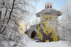 Padiglione nel parco innevato a Tsarskoye Selo Fotografie Stock