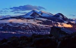 Padjelanta national park. Sunset in padjelanta national park ni sweden with snowy mountain Stock Photo