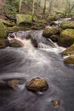 Padley Gorge. The stream tubbles over boulders and mini cascades thorugh the ancient Padley Gorge Stock Photography