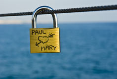 padlock влюбленности Стоковая Фотография