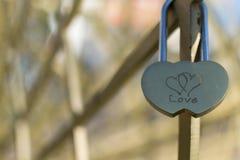 Padlock влюбленности соединенных сердец Стоковая Фотография RF