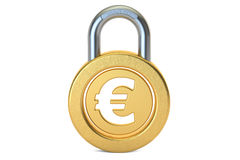 Padlock евро, перевод 3D Стоковые Изображения