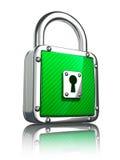 padlock зеленого цвета 3d представляет Стоковое Изображение