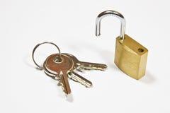 Padlock и ключи Стоковые Фото