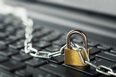 padlock клавиатуры компьютера Безопасность сети, безопасность данных и ПК предохранения от антивируса Стоковое Фото