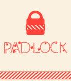 Padlock принципиальных схем вектора. цепь и красный цвет Стоковое фото RF