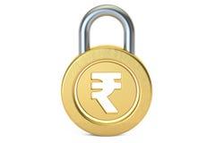 Padlock рупии, перевод 3D Стоковая Фотография