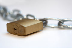 Padlock. Chain and lock with white background Stock Images