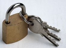 Padlock with 3 kays Stock Photos