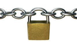 Padlock. 3d image of a chain with a padlock Royalty Free Stock Photos