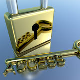 Padlock With Access Key Showing Permission Security And Login Royalty Free Stock Photo