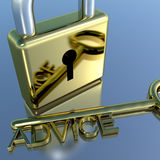 Padlock With Advice Key Showing Support Help And Information Royalty Free Stock Photos