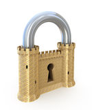 Padlock as fortress. Security concept. Padlock as fortress isolated on white Stock Photo
