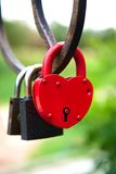 Padlock as a heart on the bridge Stock Image