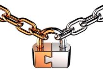 Padlock as puzzle (Hi-Res). Metallic shiny padlock as puzzle on chain. Isolated on white. 3D render Stock Photo