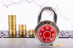 Padlock on a background of financial growth Royalty Free Stock Photos