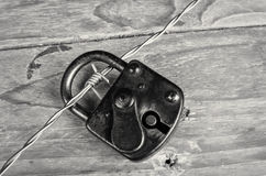 Padlock on barbed wire Royalty Free Stock Images
