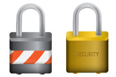 Padlock, Barricade & Security. Illustation of silver and bronze Padlocks isolated in white background Royalty Free Stock Images