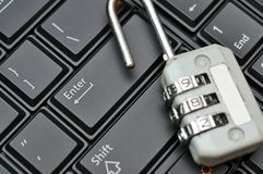 Padlock on black keyboard Royalty Free Stock Photo