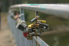 Padlock on the bridge - love Stock Photography