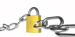 Padlock and broken chain Royalty Free Stock Photo