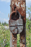 Padlock on an broken gate Royalty Free Stock Image