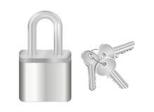 Padlock and bunch of keys Stock Image
