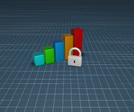 Padlock and business graph Royalty Free Stock Photos