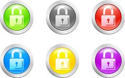 Padlock button. [Vector] Royalty Free Stock Image