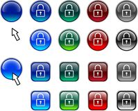 Padlock buttons. Stock Images