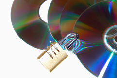 Padlock cd. Combination Lock on cd, white background Royalty Free Stock Image