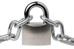 Padlock and a chain stock photography